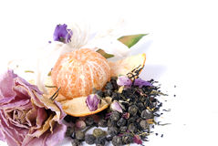 Decorative composition. Composition made of dried flowers and citrus stock photo