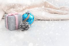 Decorative composition Christmas toy on the background of textile draping. Stock Image