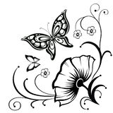 Decorative composition of curls, flower and ornamented abstract Royalty Free Stock Photos