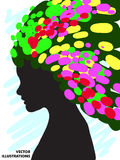 Decorative composition of girl silhouette with abstract hairstyle. hand-drawn. Royalty Free Stock Photo