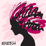 Decorative composition of girl silhouette with abstract hairstyle. hand-drawn. Individual corporate identity.  Stock Photo
