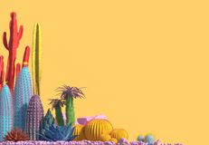 Decorative composition of groups of different species of multicolored cacti on yellow background. Contemporary art. Ð¡opy space. 3D rendering royalty free illustration