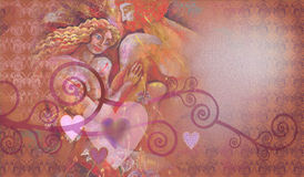 Decorative composition of hearts and lovers. Decorative composition of hearts with Painting of romantic love couple Stock Photo