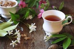Free Decorative Composition Of Vintage Style: Romantic Tea Drinking With Jasmine Tea Stock Photography - 152261312