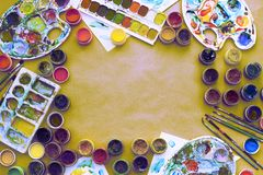 Decorative composition Surrealism Frame materials for creativity and design. Bright colors saturated. Flat lay top view Stock Images
