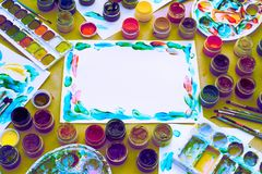 Decorative composition Surrealism Frame materials for creativity and design. Bright colors saturated. Flat lay top view Royalty Free Stock Images