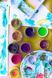 Decorative composition Surrealism Frame materials for creativity and design. Bright colors saturated. Flat lay top view Stock Photos