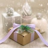 Decorative composition of traditional Christmas elements. Royalty Free Stock Photos