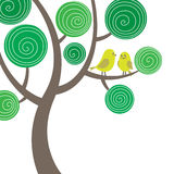 Decorative composition with two birds on the tree Stock Photos