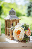 Decorative composition with vintage wooden lantern Royalty Free Stock Photos