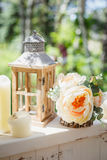 Decorative composition with vintage wooden lantern Stock Photography