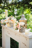 Decorative composition with vintage wooden lantern Royalty Free Stock Photography