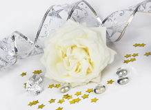 Decorative composition with a white rose Royalty Free Stock Photos