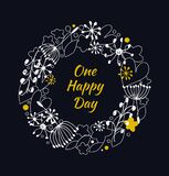 Decorative contour round garland on black backdrop. Ornate wreath with hearts, flowers and snowflakes. Design element with many cu Royalty Free Stock Photos