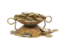 Decorative Copper Bowl With South African Coins Stock Image