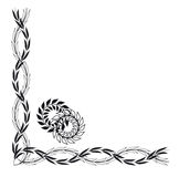 Decorative corner. Decorations corner floral motifs, black and white Stock Photo