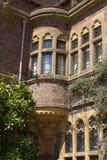 Decorative corner Tudor bay window with sculptures Stock Image