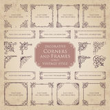 Decorative corners and frames - vintage style. Vector set of various decorative corners and frames with ornaments in vintage style Royalty Free Stock Image