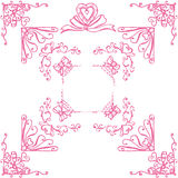 Decorative corners with hearts. Set of decorative corners with heart and ribbon Royalty Free Stock Photo
