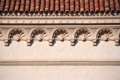 Decorative cornice. Close up photo of an architectural detail - ornamental cornice stock photos