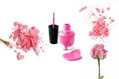 Decorative cosmetic samples isolated on white. pink powder, polish Stock Photo