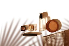 Decorative cosmetic on White Summer Background. Shadows and Sculptures. Copy Space Top view. Beauty Blogger Concept. Stock Image