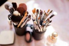Various makeup brushes, closeup photo royalty free stock photos