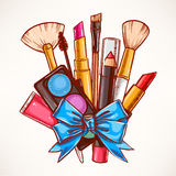 Decorative cosmetics with blue ribbon Stock Images