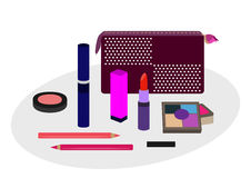 Decorative cosmetics with cosmetic bag vector illustration