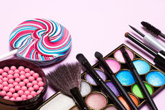 Decorative cosmetics for festive party makeup Royalty Free Stock Images