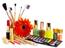 Decorative cosmetics and flower. Stock Photo