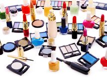 Decorative cosmetics and flower. Royalty Free Stock Images