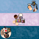 Decorative cosmetics glamour makeup banners Royalty Free Stock Images