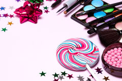 Decorative cosmetics for holiday party makeup Royalty Free Stock Images