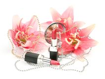 Decorative cosmetics and lilies Stock Photography
