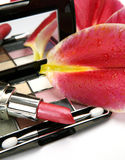 Decorative cosmetics and lilies Royalty Free Stock Photos