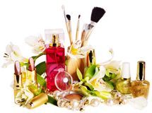 Decorative cosmetics and perfume. Royalty Free Stock Photos