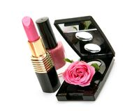 Decorative cosmetics and roses Royalty Free Stock Photos