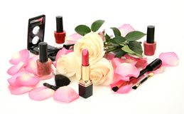 Decorative cosmetics and roses Royalty Free Stock Image