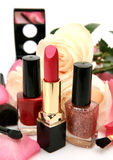 Decorative cosmetics and roses Stock Photo