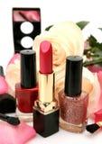Decorative cosmetics and roses Stock Photo