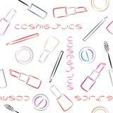 Decorative cosmetics seamless pattern on white background. Stock Image