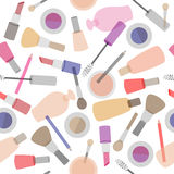 Decorative cosmetics seamless pattern on white background. Stock Photography