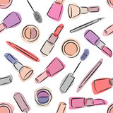 Decorative cosmetics seamless pattern on white background. Stock Image