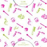 Decorative cosmetics set. Seamless pattern of Doodle cosmetics: mascara, nail Polish, lipstick, comb, brush, perfume. Decorative cosmetics set. Hand drawn vector Stock Image