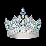 Decorative crown of silver and precious stones Stock Photos