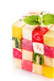 Decorative cube of colorful tropical fruit squares Stock Image
