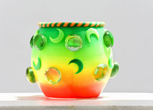 Decorative cup. Standing on a veranda Royalty Free Stock Photography
