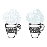 Decorative Cup of Coffee with Steam Royalty Free Stock Images