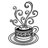 Decorative Cup of Coffee with Steam Stock Image